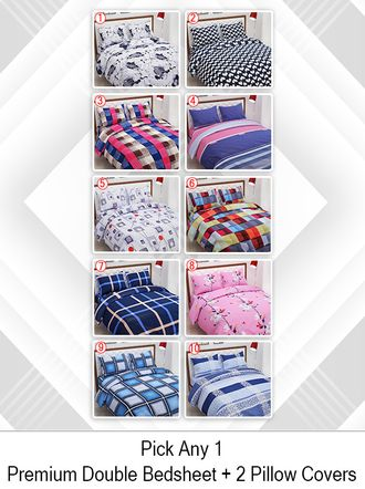 Aurome Premium Micro Fibre Double Bedsheet with 2 Pillow Covers - Shape Print